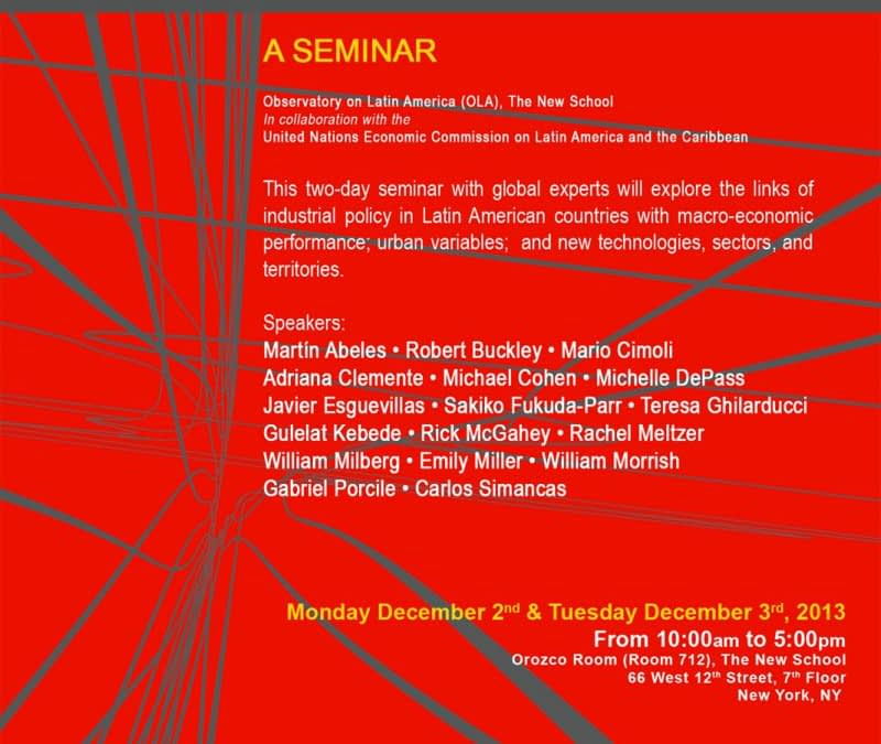 Seminar: Industrial policy, macro-economic performance and cities in Latin America