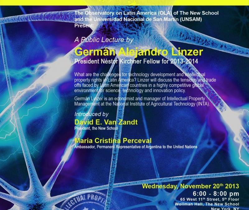 Los desafíos de la Innovación: Desarrollo Tecnológico y Propiedad Intelectual en América Latina, Conferencia Pública de Germán Alejandro Linzer