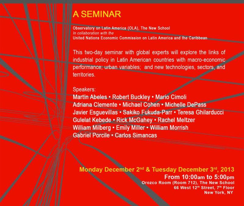 Seminario: Política industrial, desempeño macroeconómico y ciudades en América Latina