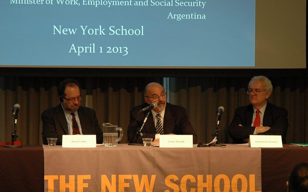 Crear empleos en tiempos de crisis global. El Ministro Carlos Tomada ofreció una Conferencia Pública en The New School