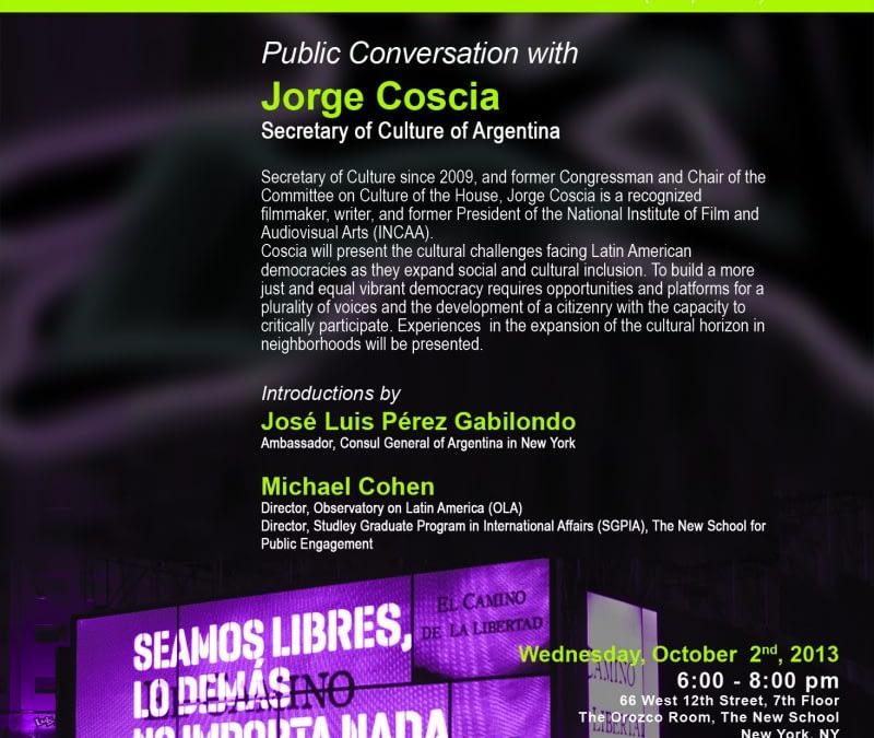 CANCELLED: Public Conversation with Jorge Coscia