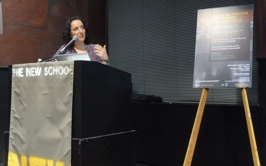 María Villa, becaria Presidente Néstor Kirchner 2013-2014 fellow, brinda conferencia pública en Nueva York