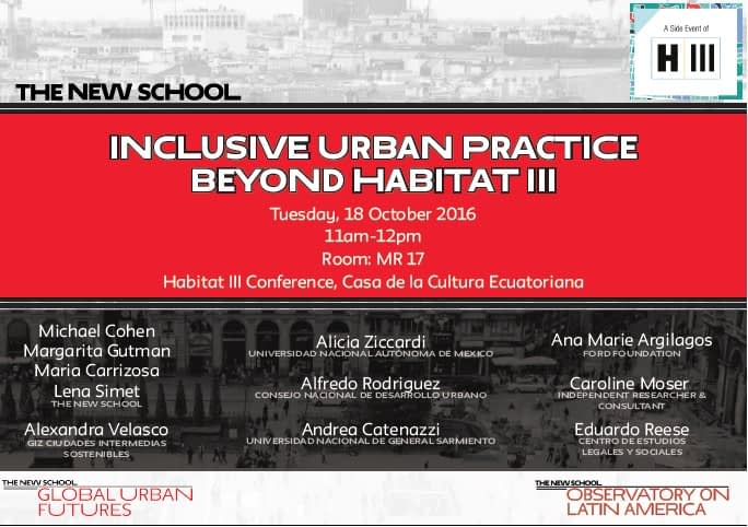 The New School at  UN Habitat III in Quito